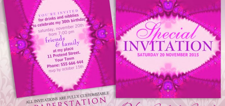 Hot pink purple girly party customizable invitation