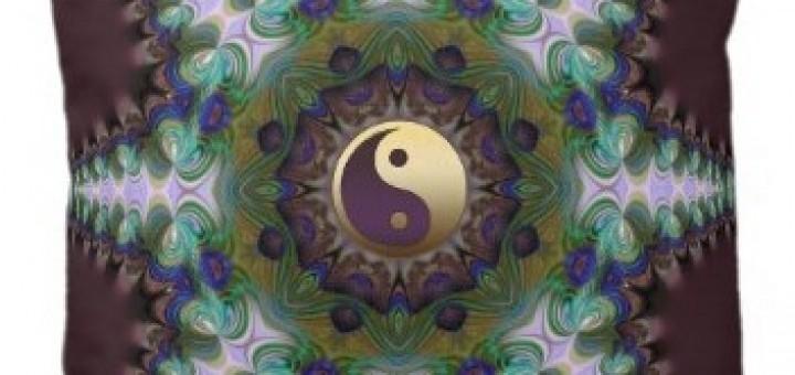 Geometric Peacock Star Yin Yang Cushion / Pillow