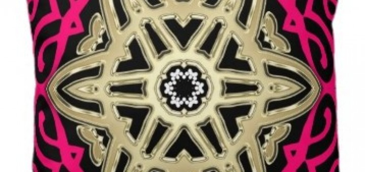 hot pink black gold celtic star wheel big cushions pillow
