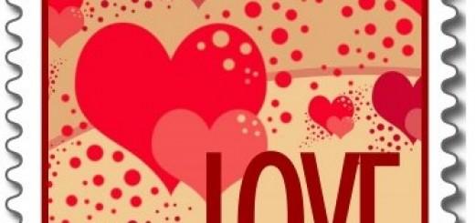Love & Kisses Heart Bubbles Postage
