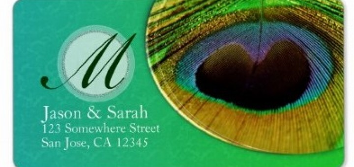 Peacock Feather Monogram Address Labels