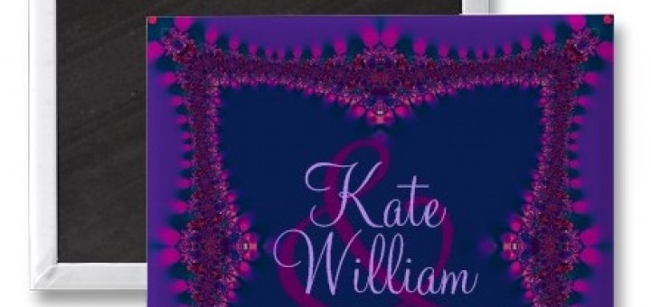 Purple+Pink Lace Save the Date Magnet