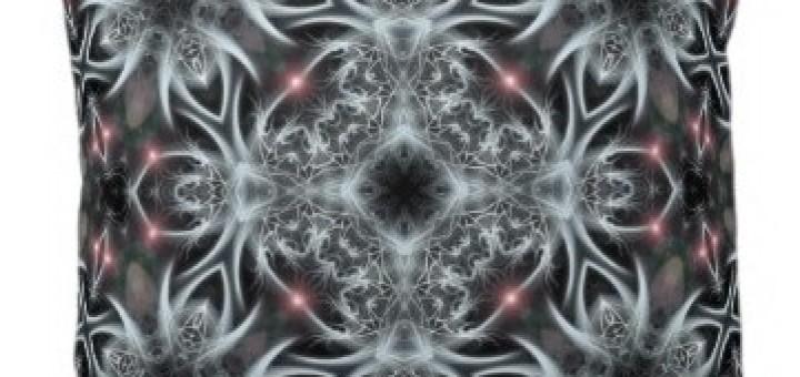 Silver Fantasy Fractal Geometric Art Jumbo Cushion