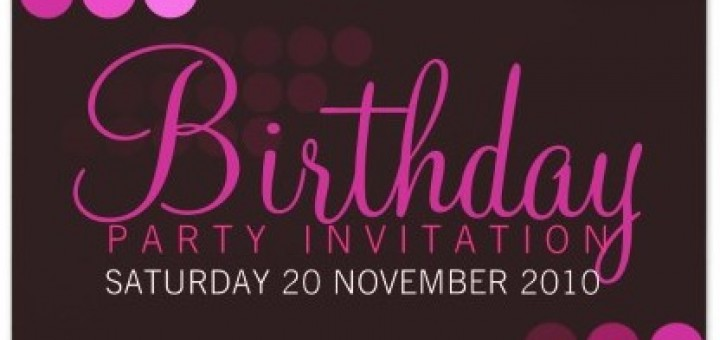 Funky Pink Party Birthday Invitation Cards