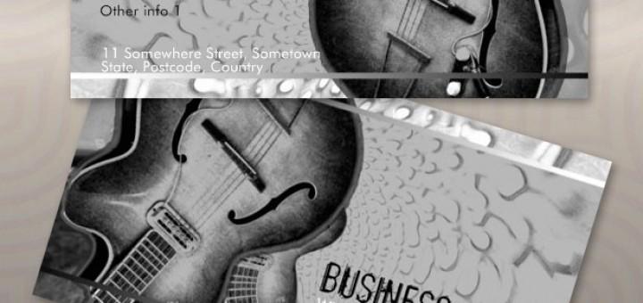 Grey Black Guitar Music Business Cards