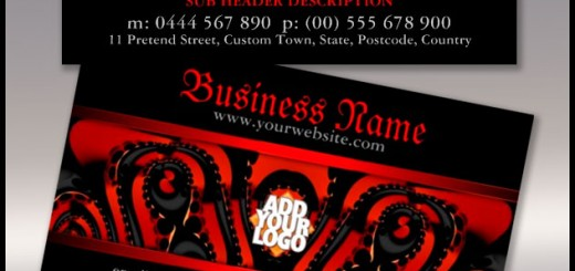 Red+Black Gothic Tribal with Logo Business Card