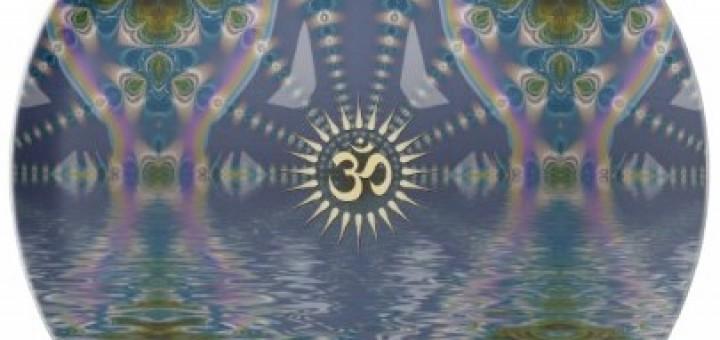 Spiritual Om Fractal Chakra Art Plate