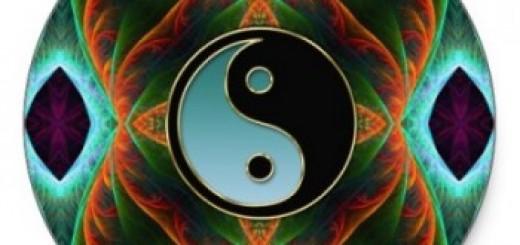 Yin Yang Aqua Green Fractal Art Sticker by webgrrl