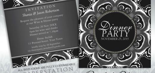 Black & White Tribal Flower Dinner Party Invitations