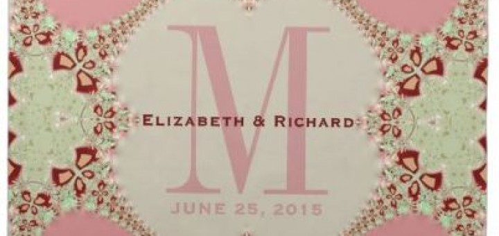 Pastel Lacy Fractals Monogram Wedding Napkin by AlternativeWeddings