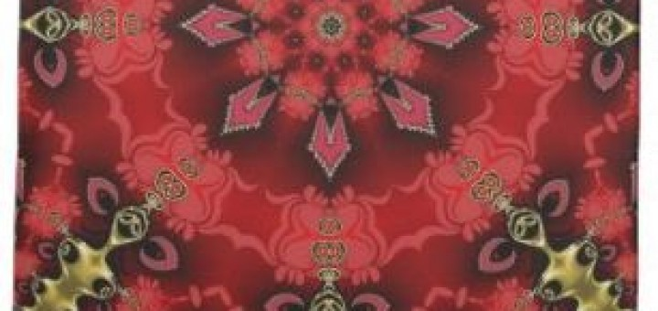 Red Gold Geometric Art Quote Tea Towel by webgrrl