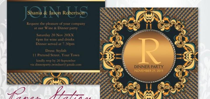 Stylish Dinner Party Monogram Teal Gold Customizable Invitations