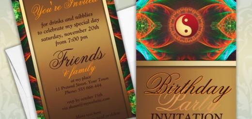 New Age Balance Fractal Art Birthday Party Invitations