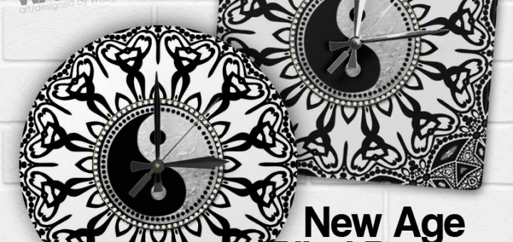 Black White Tribal designs New Age Wall Clocks