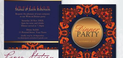 Eastern Tribe Customizable Blue Orange Dinner Party Invitation