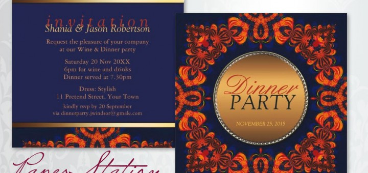 Eastern Tribe Customizable Blue Orange Dinner Party Invitation
