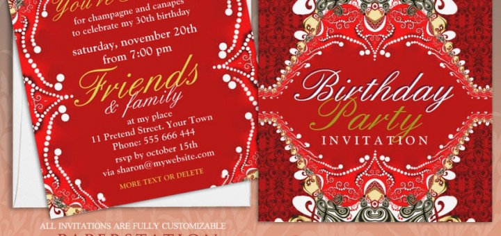 Exotic Red Batik Damask Birthday Party Customizable Invitations
