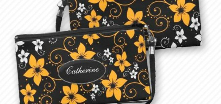 Modern Tropical Floral Women's Purse Wristlet