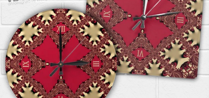 Gold Vintage Lace Geometric Pattern Wall Clock