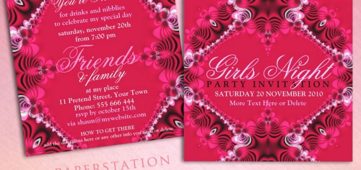 Lacy Pink Birthday Girls Night Out Party Invitations