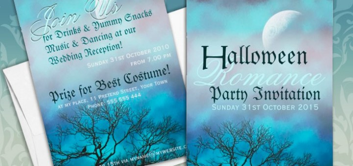 Halloween Romance Gothic Wedding Party customizable Invitations