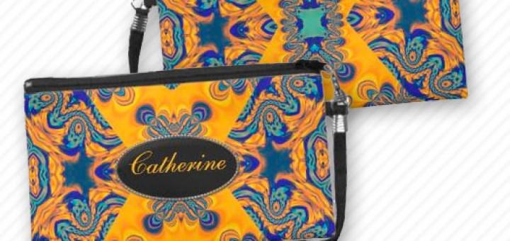 Gold+Blue Neon Batik Wristlet Bags by webgrrl