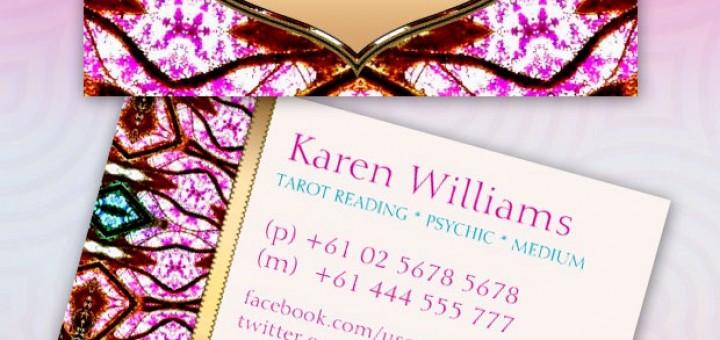 Pink Visionary Goddess Tarot New Age Custom Business Cards