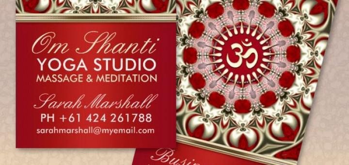 Om Shanti Yoga Studio customizable Business Card