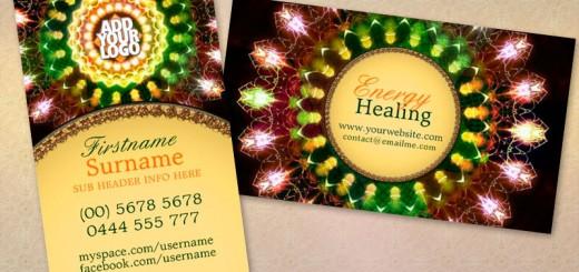 Fireworks Energy Mandala New Age Business Card template