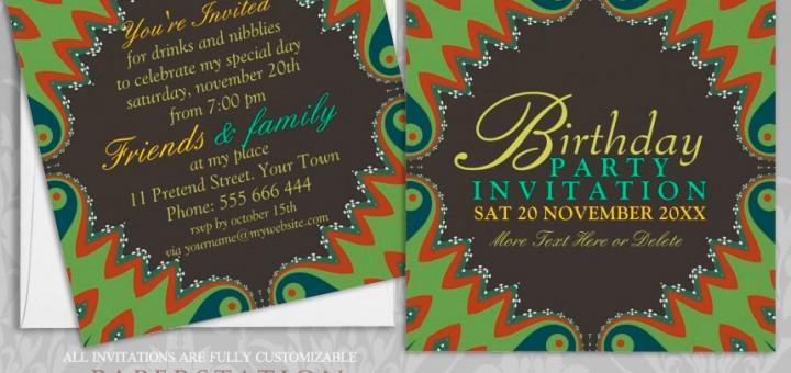 Customizable Bohemian Tribal Party Invites