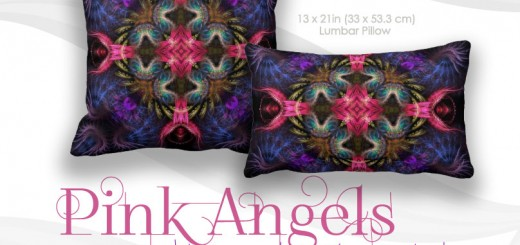 Pink Angels Wings Fantasy Purple Cushion Pillow