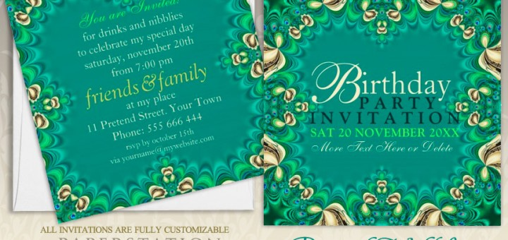 Lacy teal green peacock lace custom party invites