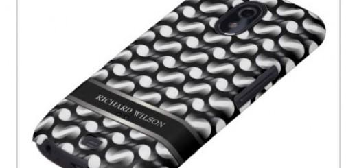 Eclipse Trip : Black White Optical Pattern custom name phone case