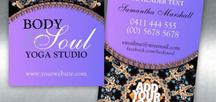 Tapestry Gems New Age Yoga Business Cards from onlinecards
