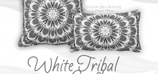 White Tribal Geometry Mandala Art Cushion Throw Pillows