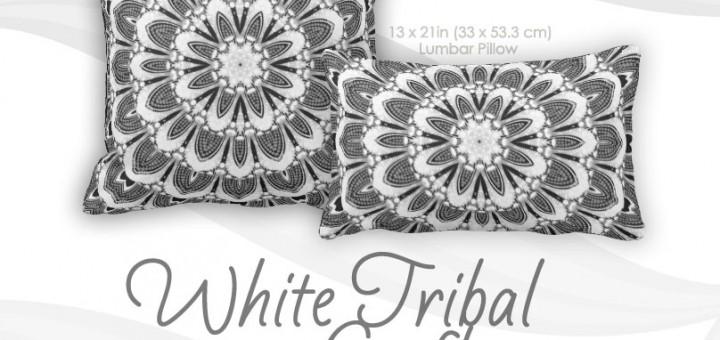 White Tribal Geometry Mandala Art Cushion Throw Pillows
