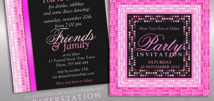Pink Modern Lights Disco Dance Party Invitations