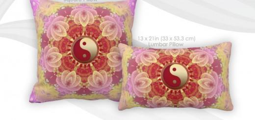 Feminine Pink Beauty New Age Yin Yang Cushions Pillow