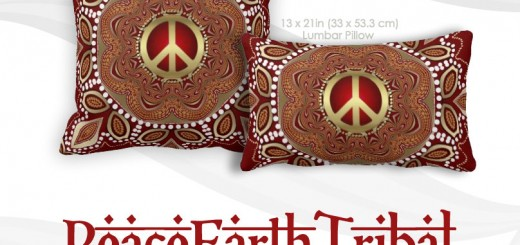 Golden Peace Earth Tribal Batik Cushion