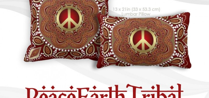 Golden Peace Earth Tribal Batik Cushion