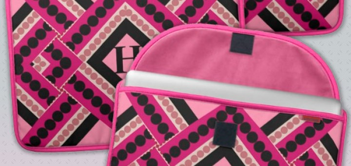 Pink Black Modern Tribal Monogram Laptop Sleeve