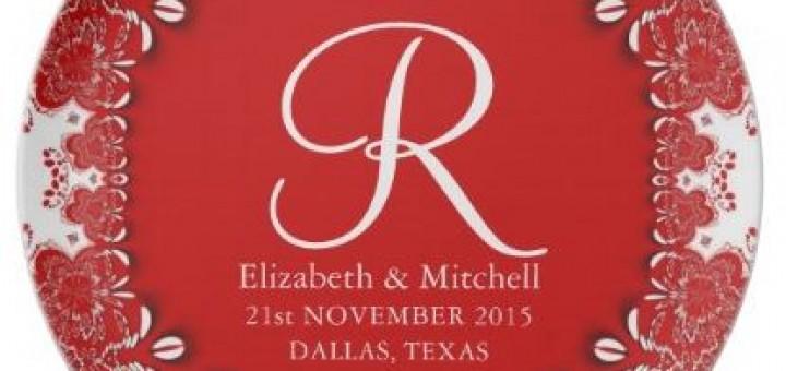 Red Vintage Decor Lace Monogram Wedding Gift Plate