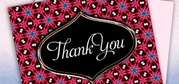 Pink Blue Pattern Thank You Postcard