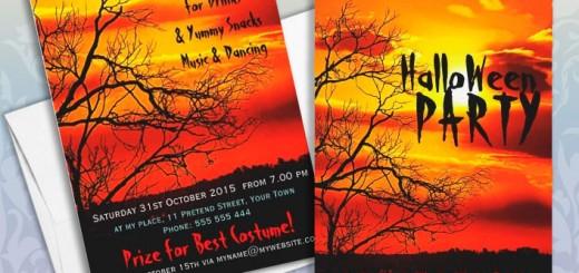 Red Sun Silhouette Halloween Invitation cards