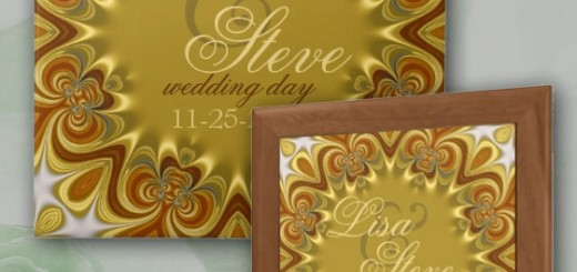 Earthy Retro Bohemian Wedding Keepsake Ceramic Tile