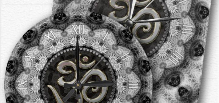 OM Symbol Yoga Black White Lace Mandala Clock