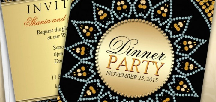Exotic Sparkle Sunflower Dinner Party Invitations by webgrrl