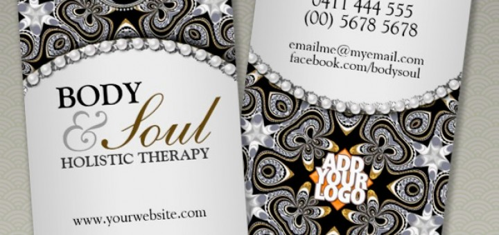 Eastern Healing Black Silver New Age Yin Yang symbol Business Card