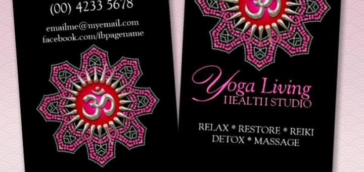 Silver Om Yoga Pink Mandala Sparkle Business Cards