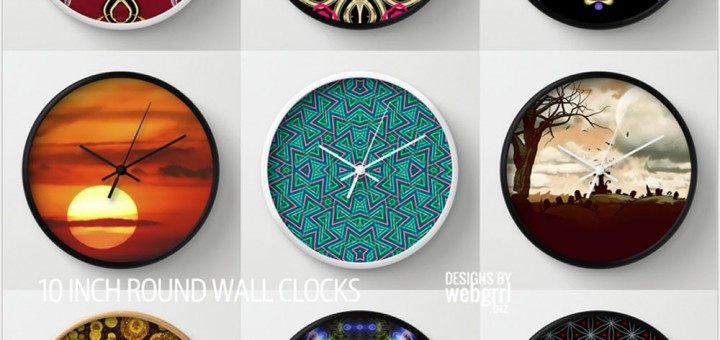 Cool Wall Clocks by Webgrrl at Society6